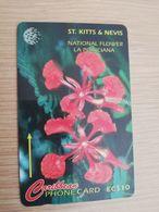 ST KITTS & NEVIS  GPT CARD $10,-  190CSKA  NO STK-190A  NATIONAL FLOWER LA POINCIANA  Fine Used Card  **2369** - St. Kitts & Nevis