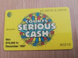 ST KITTS & NEVIS  GPT CARD $10,-  191CSKA  NO STK-191A  COURTS SERIOUS CASH Fine Used Card  **2370** - Saint Kitts & Nevis
