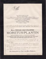 EECKEREN ANVERS Edouard MORETUS-PLANTIN 1804-1880 Conseiller Provincial Famille De VINCK - Décès