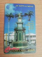 ST KITTS & NEVIS  GPT CARD $20,-  235CSKB  NO STK-235B   THE BERKLEY MEMORIAL CLOCK TOWER  Fine Used Card  **2372** - St. Kitts & Nevis