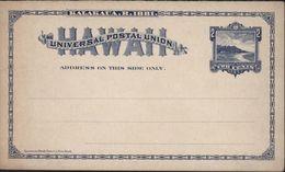 Entier 2 Cents Bleu Plage Hawaï Carte Postale Universal Postal Union Kalakaua R 1881 Neuf - Hawaï