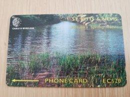 ST KITTS & NEVIS  GPT CARD $20,-  262CSKB  NO STK-262B   NATIONAL SPRING NEVIS   Fine Used Card  **2376** - St. Kitts & Nevis