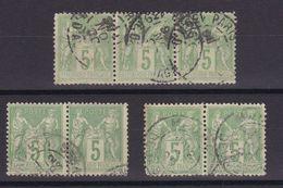 D173/ LOT SAGE N° 106 OBL / PAIRES ET BANDE - 1876-1898 Sage (Type II)