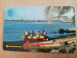 ST KITTS & NEVIS  GPT CARD $10,-  NO SERIAL NUMBER  1992 LOCAL FISCHERMAN AT WORK **2379** - Saint Kitts & Nevis