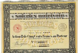 Titre Ancien - Soieries Noirivoir - Société Anonyme  - Titre De 1930 - - Textile