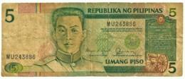 PHILIPPINES - 5 Piso - ND ( 1985 - 94 ) Pick 168.b - BLACK Serial # - Sign. 11 Serie MU - Seal Type 4 - Emilio Aguinaldo - Philippines