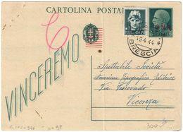 REPUBBLICA SOCIALE - INTERO POSTALE C. 15 SOVRASTAMPA G.N.R. + C. 15 IMPERIALE - SALO 19.4.1944 - FILAGRANO C101 - 4. 1944-45 Repubblica Sociale