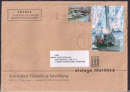 España - 2013- Sobre Circulado A La República Argentina - Rte. Soc.Filatélica Sevillana - Tamaño 23x16 Cm - Cygnus - 2011-... Lettres