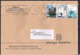 España - 2010 - Sobre Circulado A La República Argentina - Rte. Soc.Filatélica Sevillana - Tamaño 23x16 Cm - Cygnus - 2001-10 Cartas