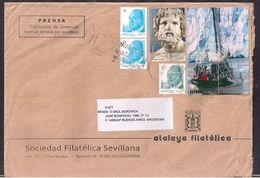 España - 2012 - Sobre Circulado A La República Argentina - Rte. Soc.Filatélica Sevillana - Tamaño 23x16 Cm - Cygnus - 2011-... Lettres