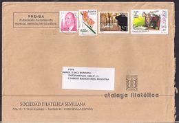 España - 2010 - Sobre Circulado A La República Argentina - Rte. Soc.Filatélica Sevillana - Tamaño 23x16 Cm - Cygnus - 2011-... Lettres