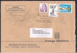 España - 2009 - Sobre Circulado A La República Argentina - Rte. Soc.Filatélica Sevillana - Tamaño 23x16 Cm - Cygnus - 2001-10 Cartas