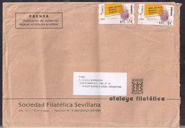 España - 2015 - Sobre Circulado A La República Argentina - Rte. Soc.Filatélica Sevillana - Tamaño 23x16 Cm - Cygnus - 2011-... Lettres