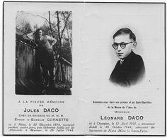 Souvenir Pieux DACO Jules (Hives 1898 ✝ Marcour 1944) Et  DACO Léonard (né à Champion 1931 ✝ Champion 1944) - Décès
