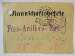Feldpost Bundzettel Mannschaftsbriefe 1914 An Fuss-Artillerie Regiment 3 (15379) - Guerre 1914-18
