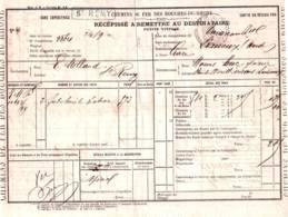 1876 CHEMINS De FER Des BOUCHES Du Rhône  Récépissé SAINT REMY à LIMOUX      Cachet Fiscal - Documents Historiques