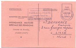 Carte Ministère Des Armées - Militaire - à Lille 1962 - Enteros Postales