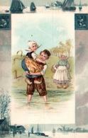 Carte Gaufrée Fantaisie Avec Faïence De Delft (Pays-Bas) - Enfants En Costume Hollandais: Passage De La Rivière - Niños