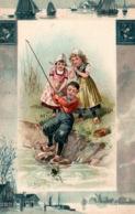 Carte Gaufrée Fantaisie Avec Faïence De Delft (Pays-Bas) - Enfants En Costume Hollandais: Pêche à La Grenouille - Niños
