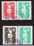 YT P2614 + P2617 Paires Oblitérées Issues Du Carnet 1502 Marianne Du Bicentenaire, Peu Proposé RARE. - 1989-96 Bicentenial Marianne