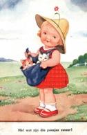 Illustration Non Signée (Fillette Et Chats): Hé! Wat Zijn Die Poesjes Zwaar (combien Ses Chattes Sont Lourdes) - Niños