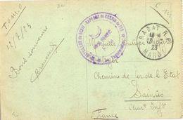 MILITAIRE : 32e BATAILLON DE GÉNIE – SAPEURS De CHEMIN De FER * LE VAGUEMESTRE – TàD RABAT R.P. MAROC Du 13-7-23 Pour SA - Sellos Militares Desde 1900 (fuera De La Guerra)