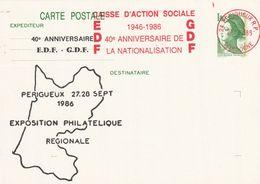 CP Repiquée : 40 Ans EDF GDF (EMA Périgueux RP, 24-Dordogne-Périgord) Du 27-09-1986 Sur YT 2375-CP1 - Entiers Postaux