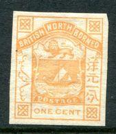 North Borneo 1886-87 Arms Of The Company - 1c Orange-yellow - Imperf - HM (SG 23b) - Borneo Del Nord (...-1963)