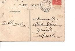 Sur CP, Cachet Postal GOUVILLE MANCHE 1907 - Marcophilie (Lettres)