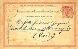 1891-Post Card  E P  5 Kr.  Cancelled  CRETO  To  France - Crète
