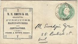 """1906- Envelopp  E P  1/2 Anna  With """" Repiquage """" B.H.SMITH & CO / CALCUTTA """" - India (...-1947)"""