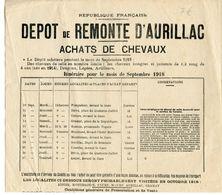 AFFICHE DEPOT DE REMONTE D'AURILLAC ACHATS DE CHEVAUX 1918 - Vieux Papiers