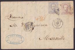 1872. MADRID A MARSELLA. 12 CUARTOS GRIS Y 25 CENTIMOS CASTAÑO ED. 122 Y 124 MAT. ROMBO PUNTOS. MUY BONITA. FRANQ. INSUF - 1872-73 Königreich: Amédée I.