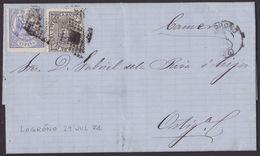 1874. LOGROÑO A ORTIGOSA DE CAMEROS. 10 CÉNT. ULTRAMAR Y 5 CÉNT. IG ED. 145 Y 141 MAT. ROMBO PUNTOS. BONITO. - 1873 1. Republik