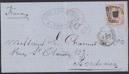 1874. HARO A BURDEOS. 40 CÉNT. VIOLETA ED. 148 MAT. ROMBO. FECHADOR Y P.D. MUY BONITA ENVUELTA COMPLETA. - Cartas
