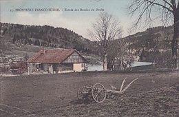 FRONTIERE FRANCO SUISSE      ENTREE DU BASSIN DU DOUBS         CHARRUE ET FERME         COLORISEE - France