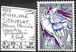 [849281]TB//**/Mnh-Belgique 1959 - N° 1117-VAR, STAVELOT, Blancs Moussis, Légendes Grignottées - Variétés Et Curiosités