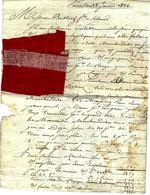 SUPERBE LETTRE AVEC 2 ECHANTILLONS DE TISSUS 1826 PARIS Pour COLMAR T.B.E V. SCANS+HISTORIQUE - Francia
