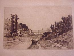 Gravure Signée Pierre TEYSSONNIERES (1834-1912) Eau Forte  BINIC - Binic