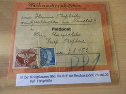 Weihnachtspäckchen  Beleg Feldpost Kriegslazarett 966 - Documenti