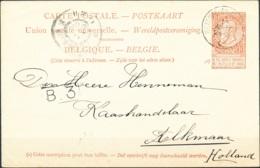 D - [55780]TB//-Entier Postal 10c Brun-rouge Fine-barbe TB Obl De L'ambulant 'Ostende-Bruxelles 1' Le 12 Août 1900 Vers - 1893-1900 Fine Barbe