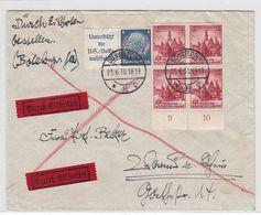 Deutsches Reich Express Brief Mit UR-Viererblock-Frankatur+AKs - Lettres & Documents