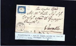 CG21 - Lettera Da Biandrate Per Varallo 14/8/1859 - Annullo Doppio Cerchio Sardo/ital Su Cent. 20 - F.to Diena - Sardinië