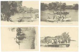 Lot 4 Cpa Haute Gambie - Chaloupe Du Gouverneur, Bateau, Chargement D'arachide, Wharf, Bantanto ... - Gambia