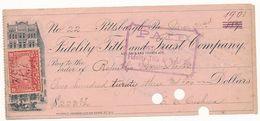 1901 USA STATI UNITI ASSEGNO FIDELITY TITLE AND TRUST COMPANY - Chèques & Chèques De Voyage