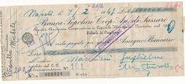 1948 SASSARI ASSEGNO BANCA POPOLARE COOPERATIVA ANONIMA DI SASSARI - Chèques & Chèques De Voyage