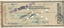 1947 ASSEGNO ISTITUTO DI CREDITO DELLE CASSE DI RISPARMIO ITALIANE TRATTOA BOLZANO - Chèques & Chèques De Voyage