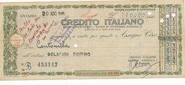 1946 ASSEGNO CREDITO ITALIANO TRATTO A CATANIA - Chèques & Chèques De Voyage