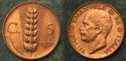 M_p> Regno Vitt Eman III° 5 Centesimi 1930 Spiga ALTA Conservazione - 1861-1946 : Regno