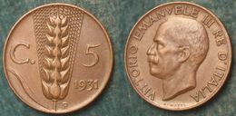M_p> Regno Vitt Eman III° 5 Centesimi 1931 Spiga BELLA Conservazione - 1861-1946 : Regno